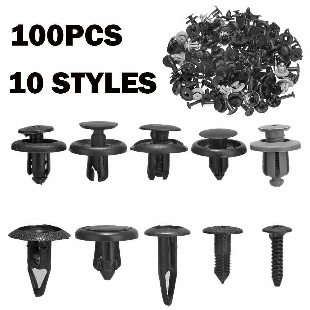 100Pcs Car Plastic Fastener Clips Trunk Screw Rivets Bumper Fender Moulding Ou