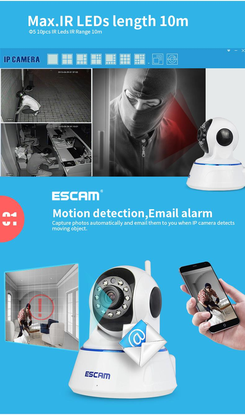 ESCAM QF002720P P2P  WIFI  IR 10m IP Pan//Tilt dome camera Support Android IOS