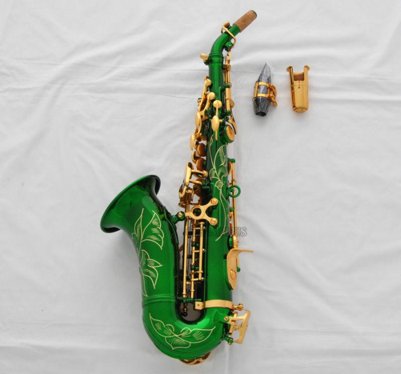 Details about Brand new Green Curved Soprano Saxophone Sax High F# saxofon  New Case