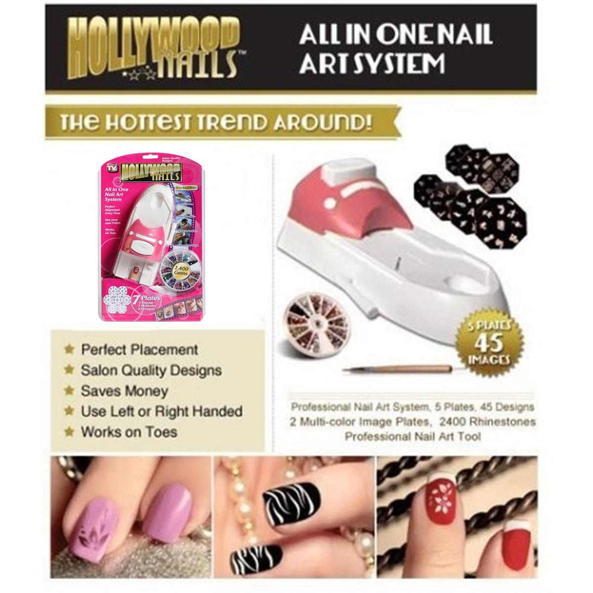 New Fashionable Hollywood Nails All In One Nail Art System Kit