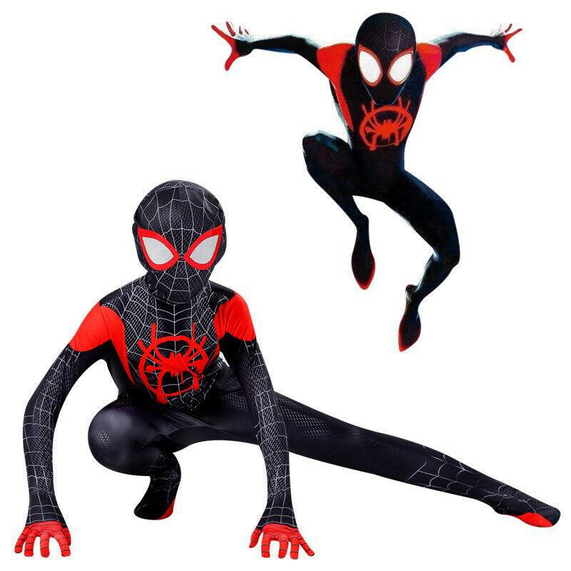 Spider Man Into the Spider Verse Costume Kids Miles Morales Cosplay Zentai Suit