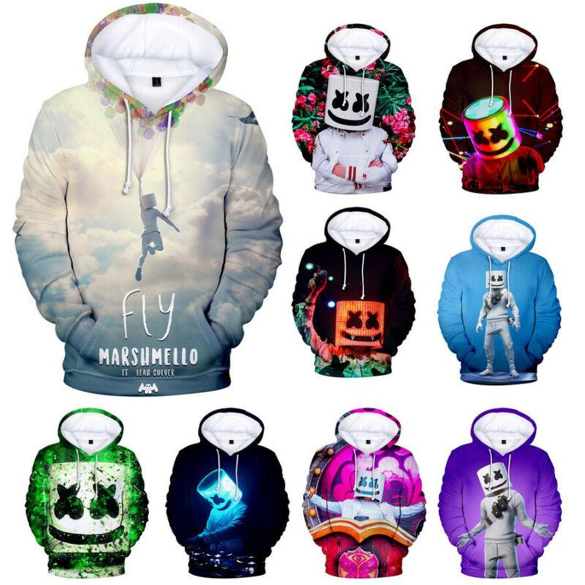 DJ Marshmello Men/'s Sports Hoodie Loose Hooded Coat Thin Music Sweatshirt Blouse