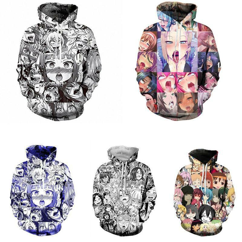 Ahegao Funny Emoji Anime Art 3D Print Women Men/'s Pullover Hoodie Jumper Tops US
