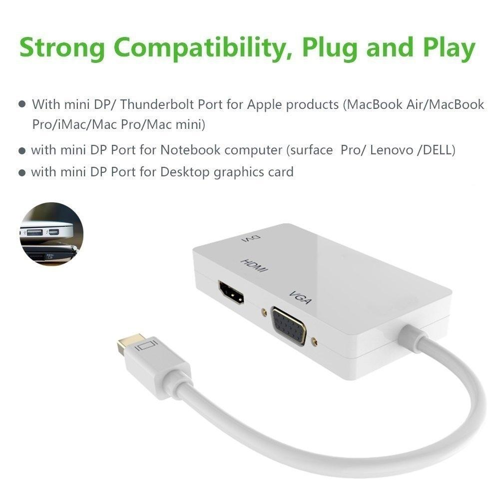 Mini dp 3 in1 Mini Display Port DP To HDMI VGA DVI Adapter converter For MacBook Pro Air Microsoft Surface Pro and all Laptop or Desktop Computer with mini ...