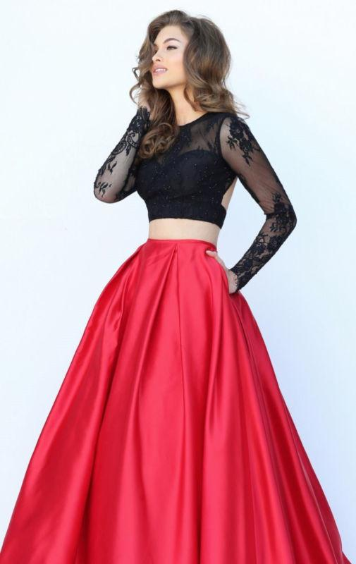 Redblack Two Piece Long Sleeve Lace Prom Formal Dress Pageant Party