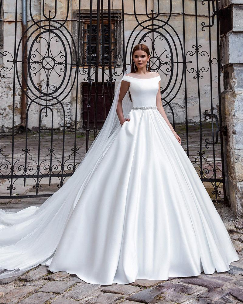 Satin Ivory/white off shoulder Wedding Dress Ball Gown Bridal Gowns ...