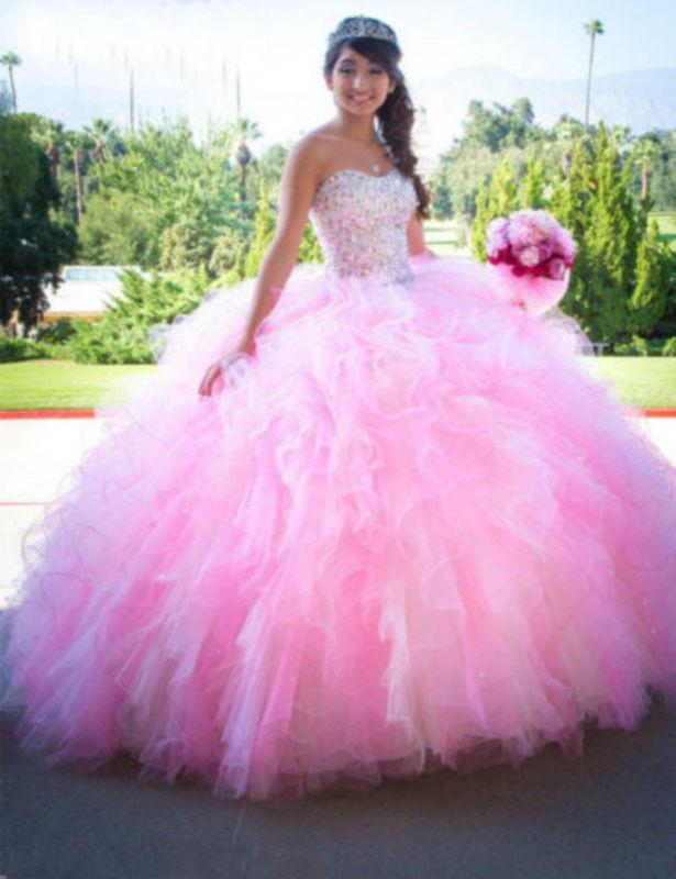 45608b67086 New Pink Crystal Ball Gown Quinceanera Dresses For 15 16 Years Prom Party  Dress