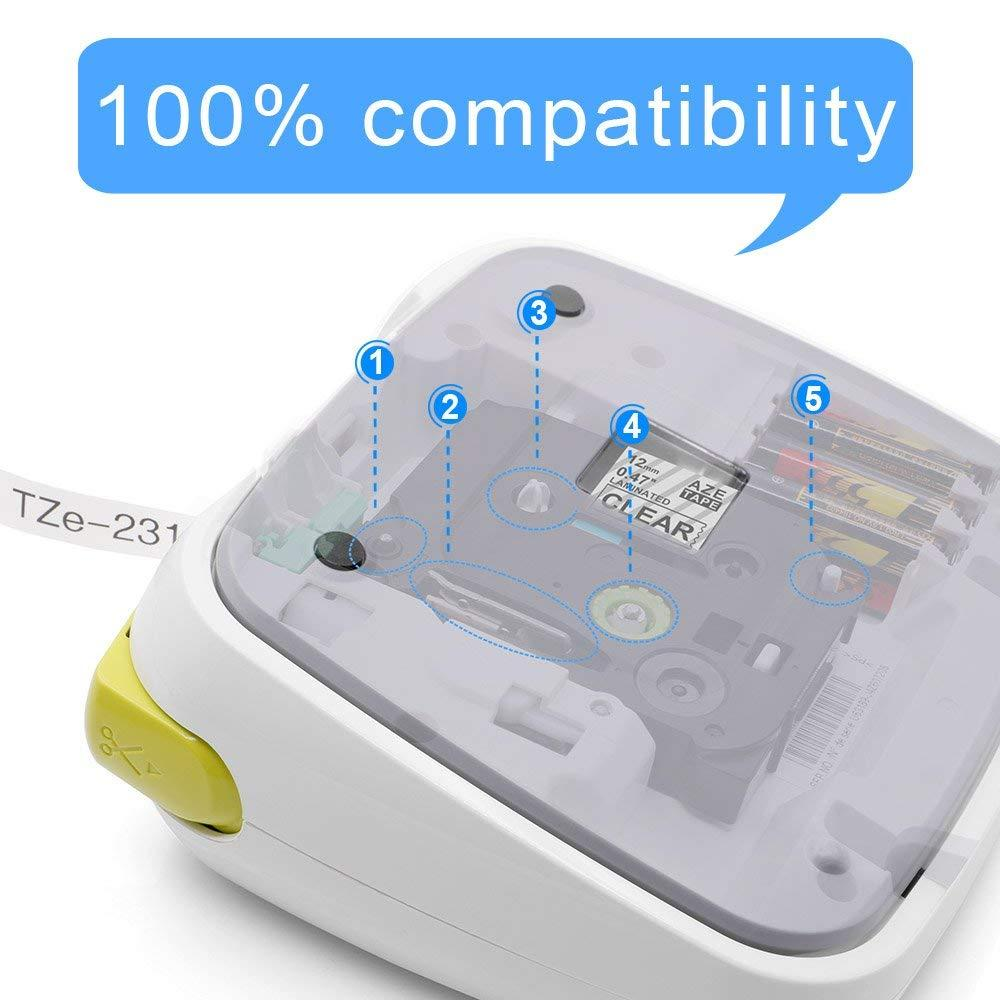 """2PK TZe111 tze211 Compatible For Brother P-Touch Label Tape 6mm 1//4/"""" White//Clear"""